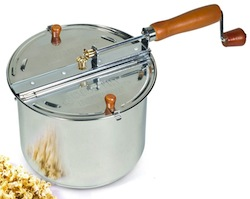 Stainless-Steel Stove-Top Popcorn Popper and Coffee Roaster