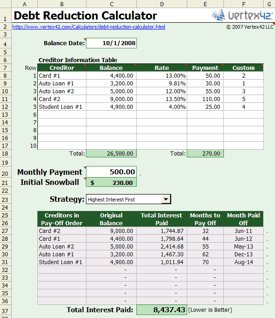snowball debt reduction calculator spreadsheet cool tools