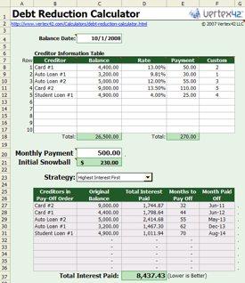 snowball debt reduction calculator spreadsheet cool tools